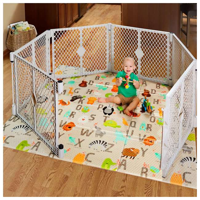 NS-8910 North States 8910 Superyard Animal Print Folding ABC Baby Toddler Play Mat, Tan 4