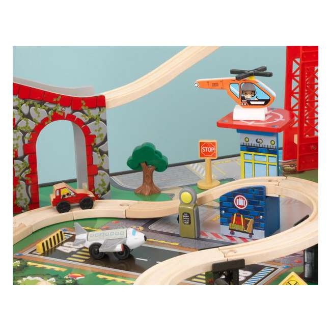 17952 KidKraft New Metro Wooden Train Table & Set with Trundle 4
