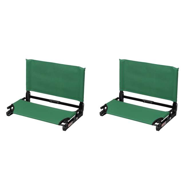 WSC2-FOR.GREEN Stadium Chair Deluxe Game Changer Folding Bleacher Seat, Forrest Green (2 Pack)