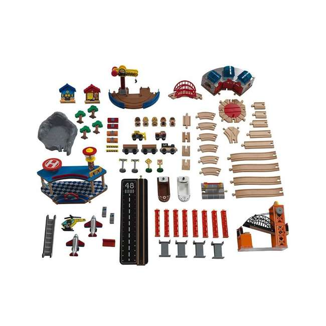 KDK-18012 KidKraft 18012 Railway Express Kid Toddler Wooden 79 Piece Toy Train Set & Table 1