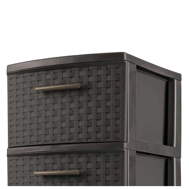 26306P02-U-A Sterilite 3 Drawer Wicker Weave Decorative Storage Tower (Open Box) (2 Pack) 2