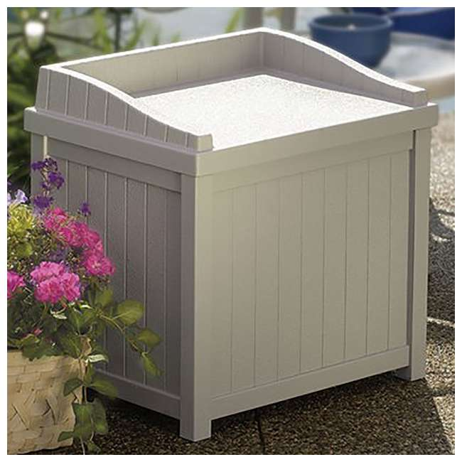 SS1000 Suncast 22-Gallon Outdoor Deck Box with Seat, Light Taupe 1
