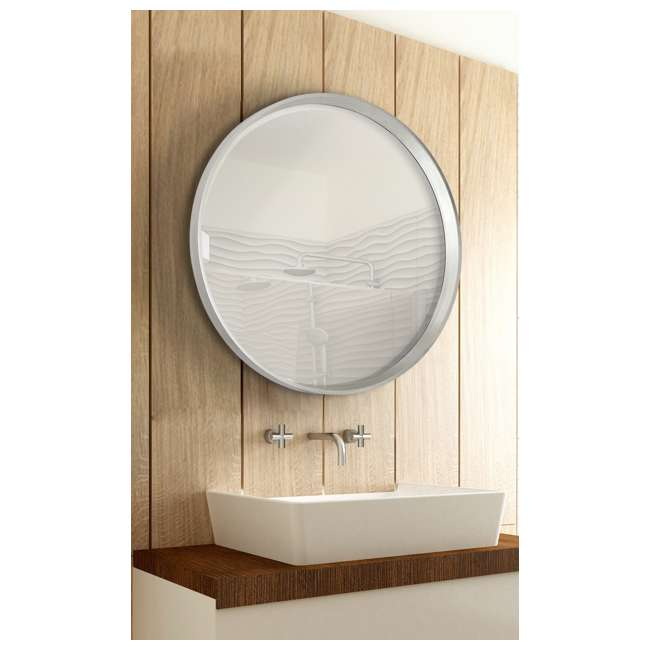 2195-B Majestic Mirror Modern Round Silver Frame Glass Wall Mirror  1