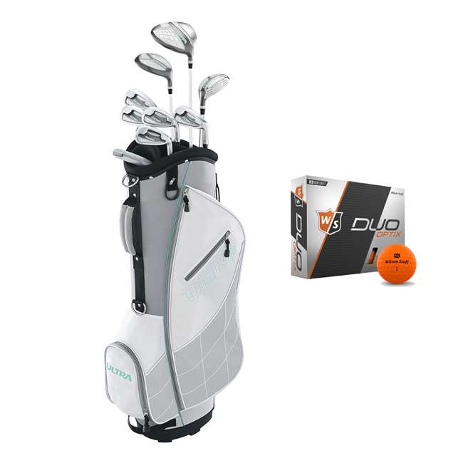 WGGC43300 + WGWP40800 Wilson Ultra Ladies Right-Handed Golf Club Set with Cart Bag & Balls