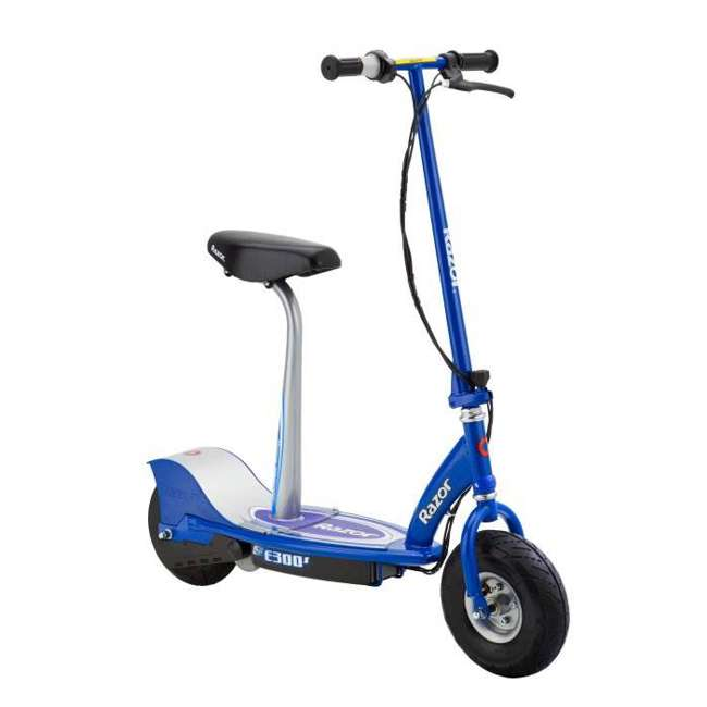13116240 + 97778 + 96785 Razor E300S Seated Electric Scooter (Blue) with Helmet, Elbow & Knee Pads 1