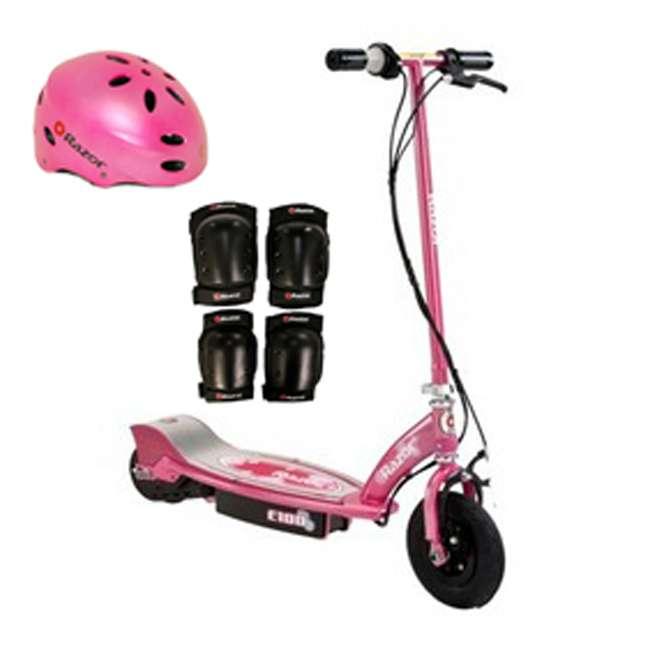 13111263 + 97783 + 96785 Razor E100 Electric Scooter (Sweet Pea) w/ Helmet, Elbow & Knee Pads