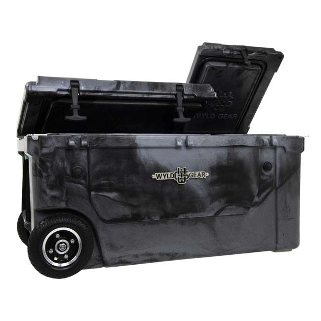 HC75-17SB WYLD 75 Quart Pioneer Dual Compartment Insulated Cooler w/ Wheels, Black/Silver