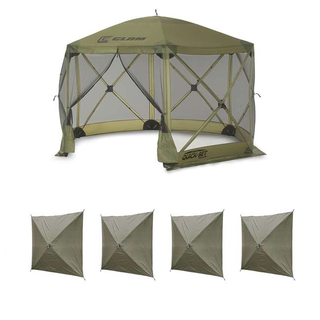 CLAM-ES-9281 + 2 x CLAM-WP-2PK-9896 Clam Quick Set Canopy Shelter + Wind & Sun Panels (4 pack)