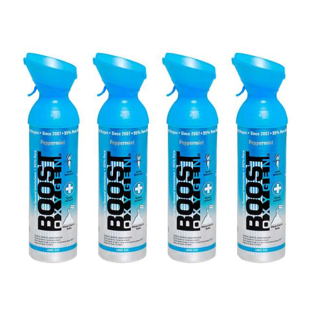 4 x 601 Boost Oxygen Natural Portable 10 Liter Pure Oxygen Canister, Peppermint (4 Pack)