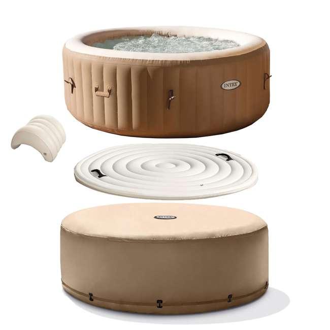 28403E + 28501E + 28523E Intex PureSpa 77 Inch 4 Person Inflatable Hot Tub Spa with Headrest & Cover