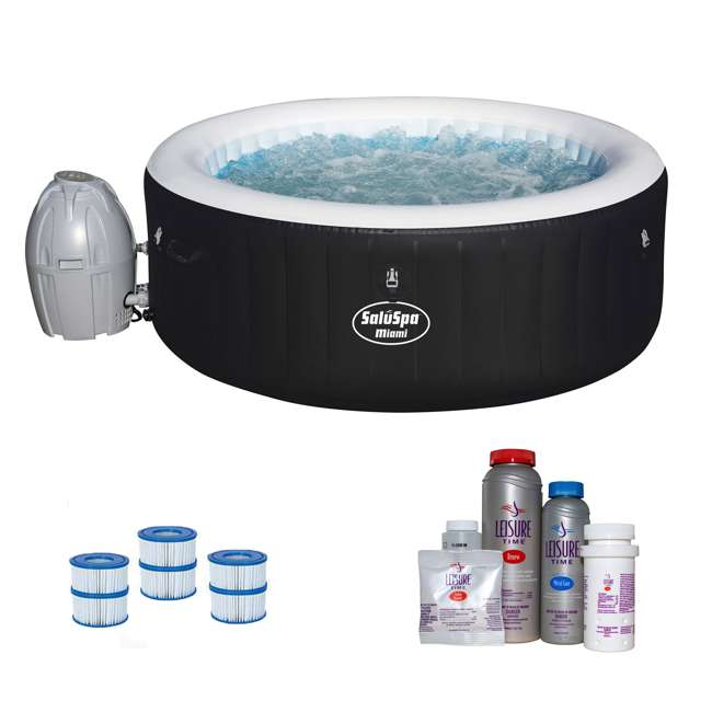 54124E-BW + 45521A + 3 x 90352E-BW Bestway SaluSpa Hot Tub w/ Spa Bromine Kit & Filter Cartridges