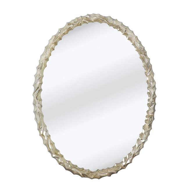 2031-P Majestic Mirror Contemporary Oval Shaped Silver Framed Glass Wall Mirror