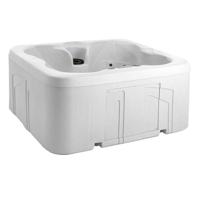 LS100-SS Life Smart 4 Person Plug & Play Square Hot Tub Spa with 20 Jets and Cover, Sea Salt