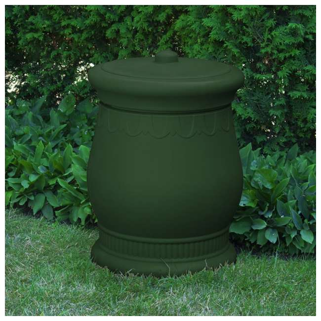 SV-URN-GRN Good Ideas Savannah Decorative 30 Gallon Storage and Waste Basket Urn, Green 1