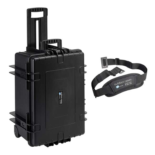 6800/B/SI + CS/3000 B&W 70.9L Plastic Waterproof Case w/ Wheels, Foam Insert & Shoulder Strap, Black 4