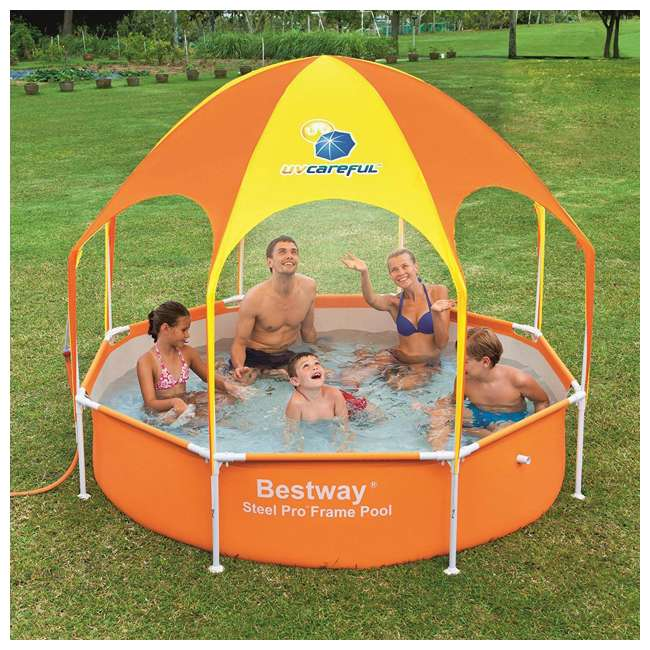 "56543-BW-U-A Bestway  8' x 20"" Splash Shade Kids' Spray Pool with Canopy  (Open Box) (2 Pack) 1"