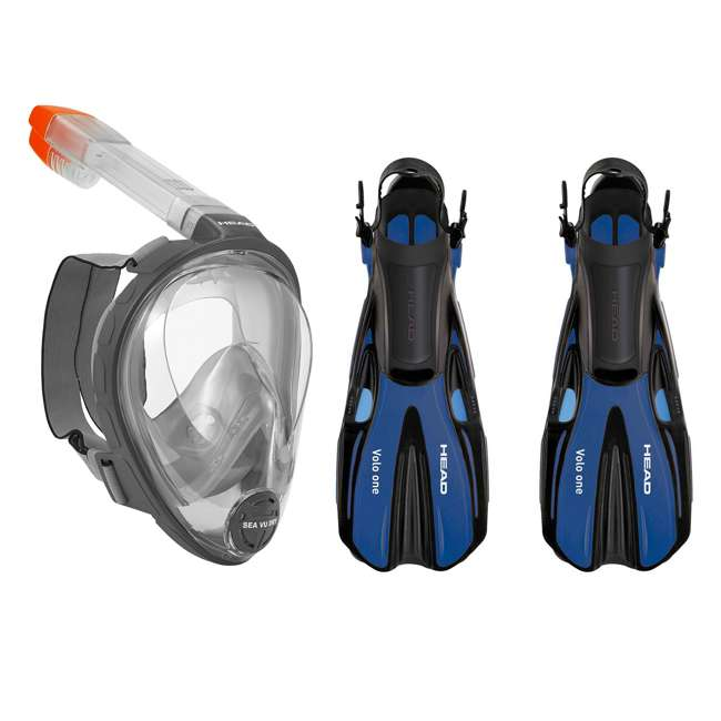 496325-BKBKS-M + 480203-SFBLML Head Sea Vu Gray Adult Snorkeling Mask w/ Blue Fins, MedLg