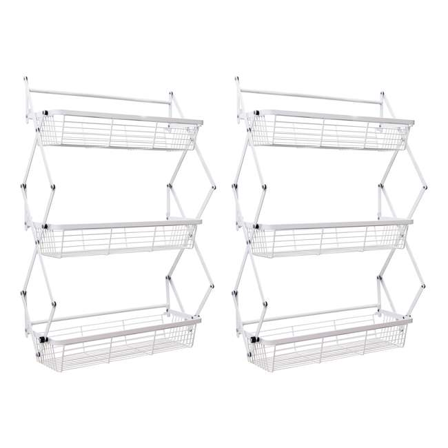 OTD-3R-WHI Supermoon Products Over the Door 3 Tier Hanging Rack (2 Pack)
