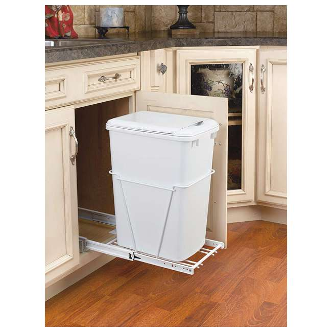 RV-12PB Rev-A-Shelf RV-12PB S 35 Quart Pull Out Waste Container with Basket, White 2