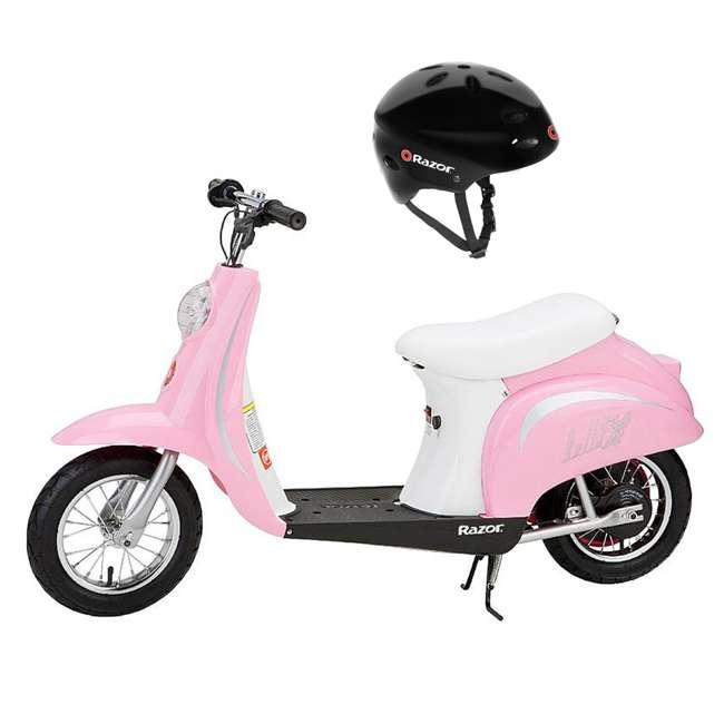 15130610 + 97780 Razor Pocket Mod Miniature Kids Motor Powered Scooter & Helmet