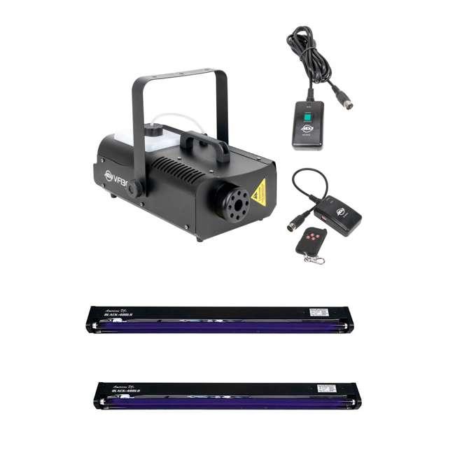 VF1300 + 2 x BLACK-48BLB American DJ 1300 Watt 2.3L Fog Machine + 48 Inch UV Black Light Fixture (2 Pack)