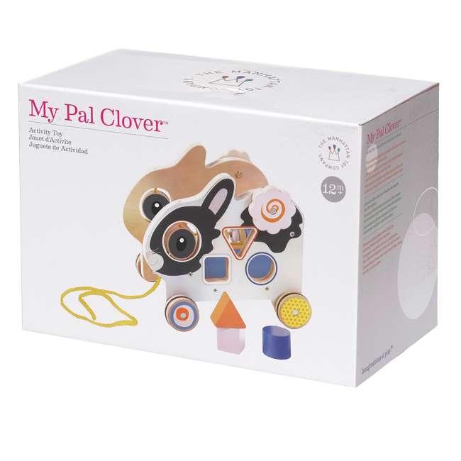 214240 Manhattan My Pal Clover Wooden Rabbit Pull Along Preschool Toddler Activity Toy 3