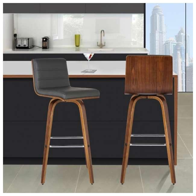 4 x LCVIBAGRWA30 Armen Living Vienna 30 Inch Barstool in Walnut Finish & Gray Upholstery (4 Pack) 1