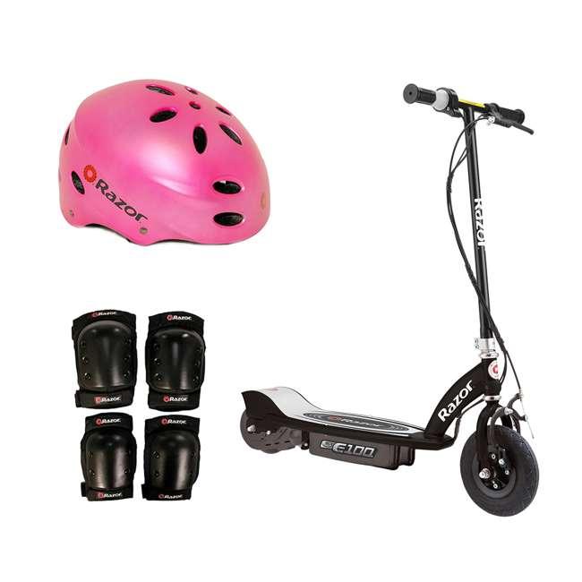 13110097 + 97783 + 96784 Razor E100 Motorized Black Electric Scooter w/ Pink Helmet & Deluxe Safety Set