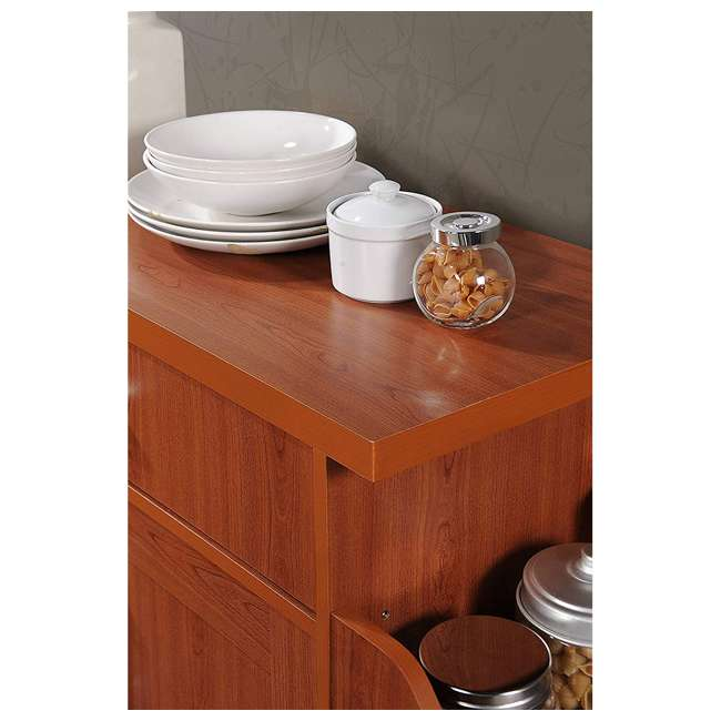 HIKF78 CHERRY Hodedah Wheeled Kitchen Island Cart with Spice Rack and Towel Holder, Cherry 1