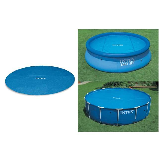 26711EH + 29022E Intex 12ft x 30in Prism Frame Above Ground Pool w/ Pool Solar Cover Tarp, Blue 7