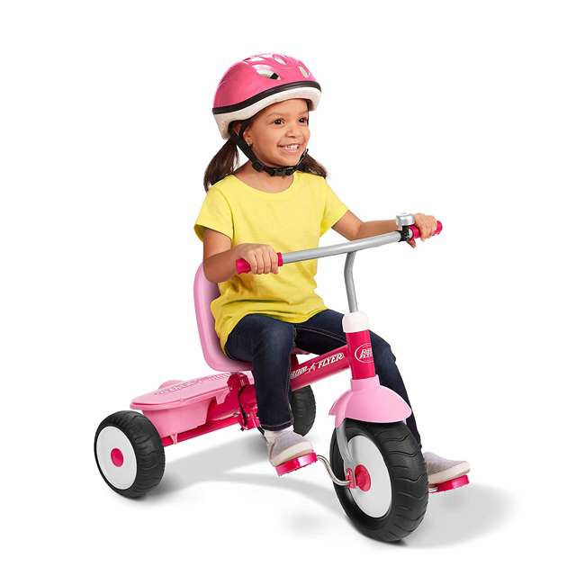 53PZ Radio Flyer Deluxe Steer and Stroll Kids Outdoor Recreation Bike Tricycle, Pink 1