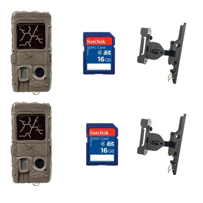 2 xG-5017-CL-DUAL+2xSD4-16GB-SAN+2x3488-GENIUS-PTL Cuddeback Game Camera (2pk) + 16GB SD Card (2pk) + Game Camera Mount (2pk)