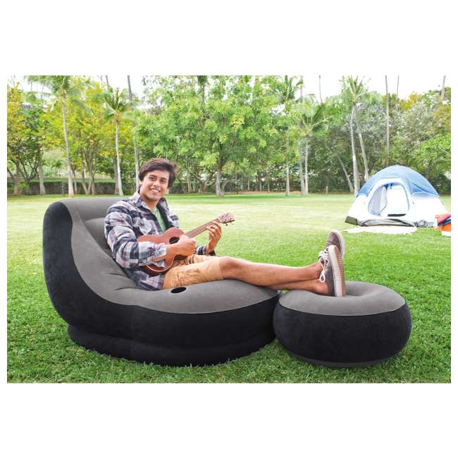 68564EP + 66636E Intex Inflatable Ultra Lounge Chair And Ottoman and 12-Volt Electric Air Pump 5
