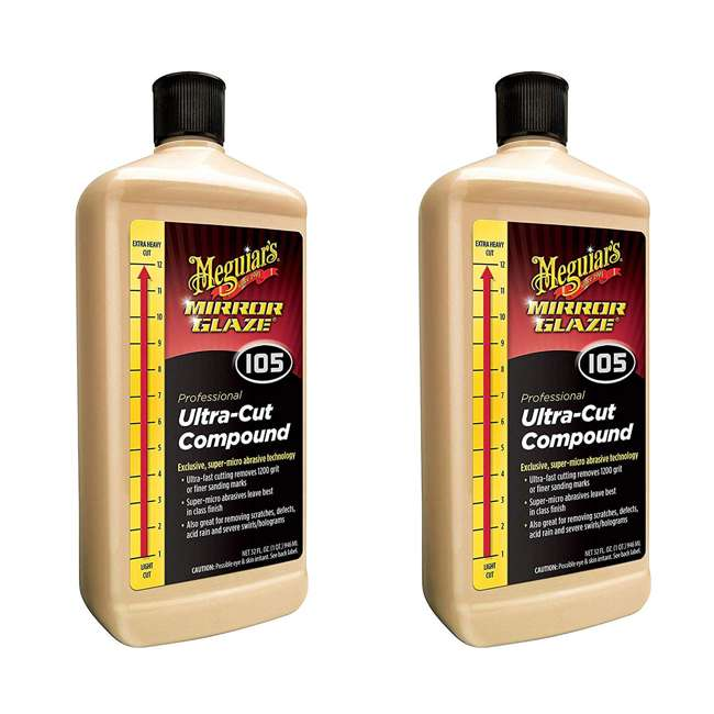 M10532 Meguiar's Mirror Glaze Scratch Remover Ultra Cut Compound, 32 Ounces (2 Pack)