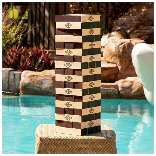 LG100Y19030 Lancaster Gaming Company Giant Wooden Tumbling Tower Outdoor Game, Black & Pine 6