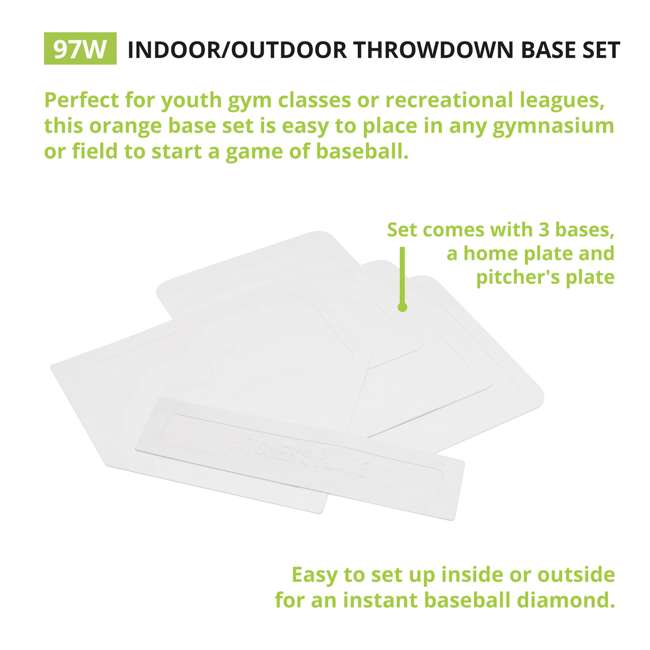 97W Champion Sports Indoor Outdoor Baseball Softball Throwdown Bases Set, White 2