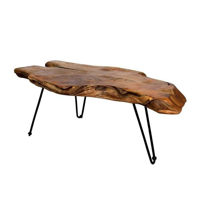 SC-IDW82658-U-D Natural Wood Edge Teak Coffee Cocktail Table with Clear Lacquer Finish (Damaged)