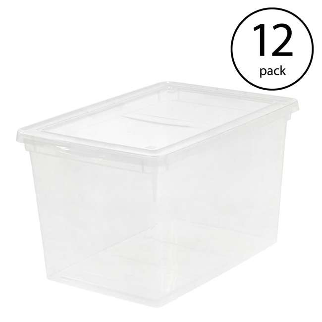 586875-6PK IRIS USA Extra Large Hard Plastic Stackable Closet Clear Storage Bin (12 Pack)