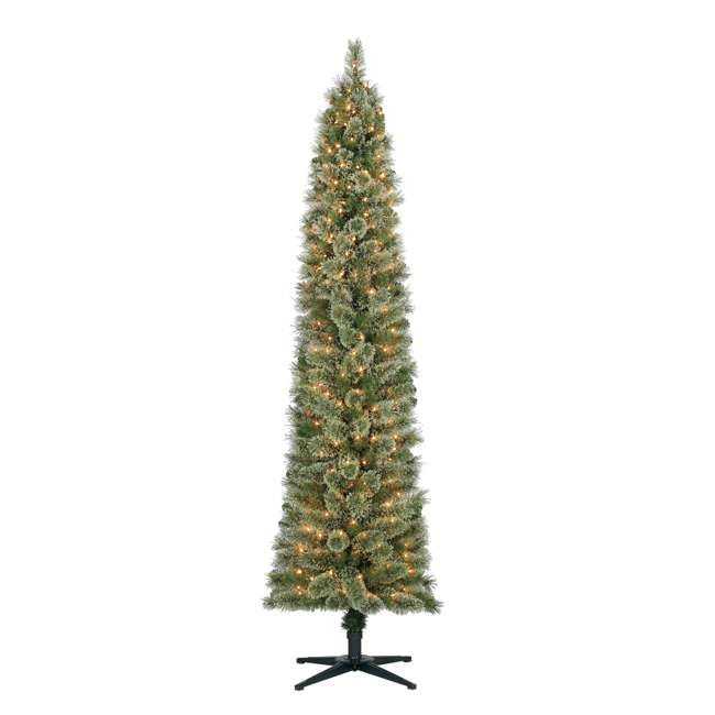 TV70M2638C01 Home Heritage Stanley  7-Foot Pencil Pine Slim Pre-Lit Christmas Tree with Clear Lights and Stand