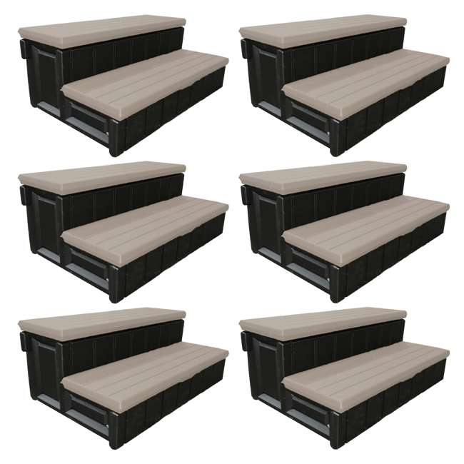 6 x LASS36-SC-P Leisure Accents 36-Inch Long Spa Storage Steps (6 Pack)