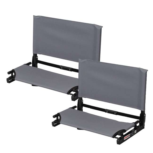 WSC2-GRAY Stadium Chair Deluxe Game Changer Folding Seat, Gray (2 Pack)