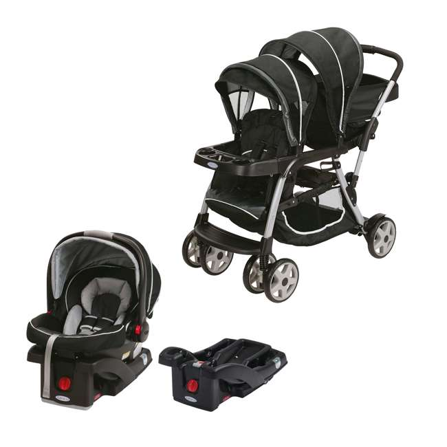 graco double baby stroller snugride car seat car seat base travel system 1934625 1893807. Black Bedroom Furniture Sets. Home Design Ideas