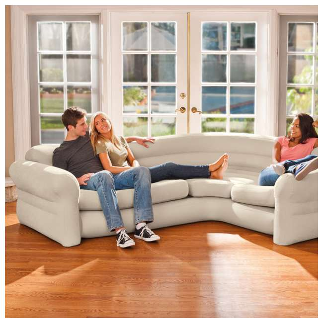 68575EP + 66623E Intex Inflatable Corner Sectional Sofa with Air Pump 4