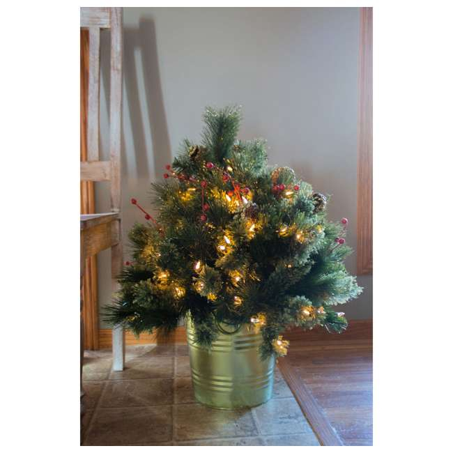 TV22M3M26L02 Home Heritage 26 Inch Artificial Holiday Shrub with LED Lights (2 Pack) 6