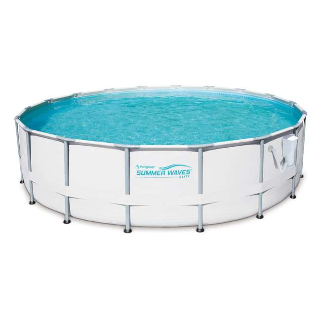 P40016481167 + QLC-42003 Summer Waves Elite 16 Ft Metal Frame Above Ground Pool w/ Pump & Cleaning Kit 1