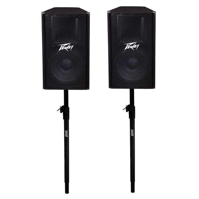 PV-115 + 2 x PSTND3 Peavey 15-Inch 2-Way 800-Watt Speakers (Pair) + Pyle 58-Inch Speaker Poles (Pair)