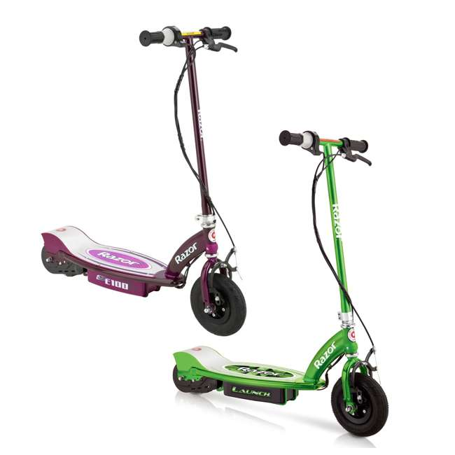 13111230 + 13111250 Razor E100 Kids 24V Electric Powered Ride On Scooter, Green & Purple (2 Pack)