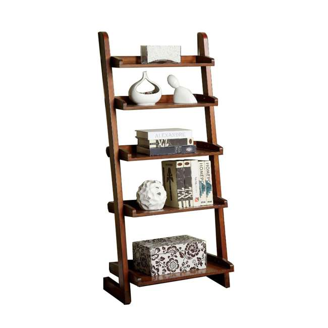 IDF-AC293-U-B Furniture of America Wood Lugo Leaning 5 Tier Ladder Shelf Bookcase (Used)