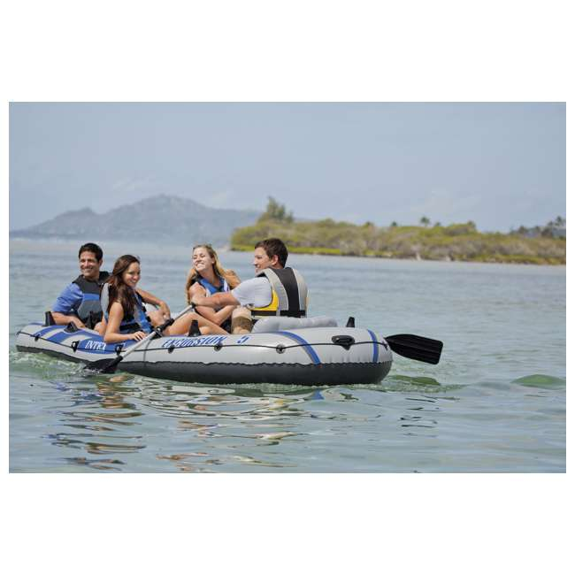 3 x 68325VM-U-A Intex Excursion 5 Person Inflatable Fishing Boat Set w/ Oars & Pump (Open Box) (3 pack) 8