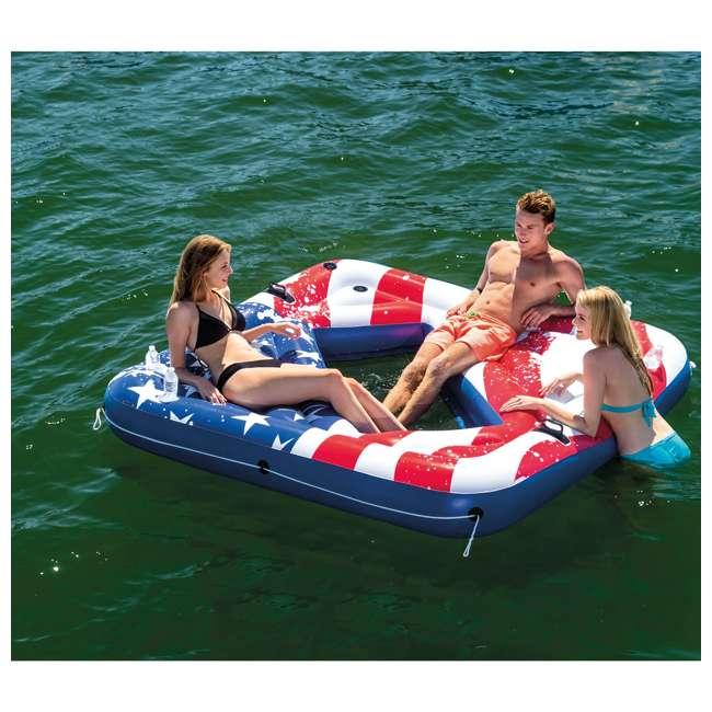 "3 x 57264VM-U-A Intex American Flag 81"" Party Island Lake Raft Pool Float (Open Box) (3 Pack) 3"